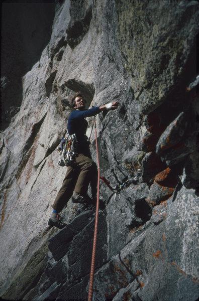 Rock Climbing Photo: Robert on Flash Flood Haystack Mtn (1983)