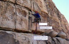 Rock Climbing Photo: Edited photo to show damage to route/beta