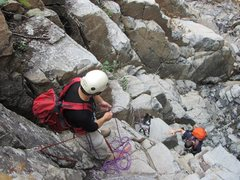 Rock Climbing Photo: K9 (Colvin) being belayed up the crux headwall of ...
