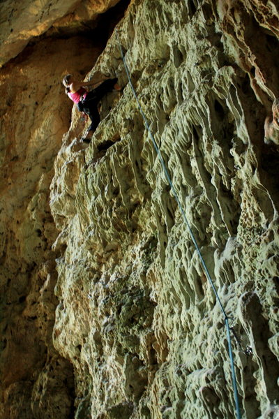 Rock Climbing Photo: Stepping right of the crack near the top.