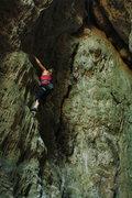 """Rock Climbing Photo: """"Si Pero No,"""" with the crack of """"Gu..."""