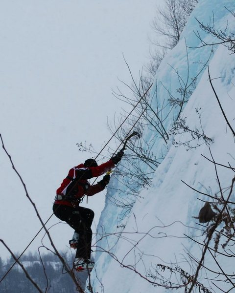Kyle getting sticks in some fat, blue ice.<br> <br> Photo by Connor Reynolds