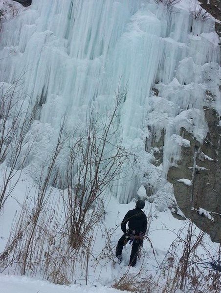 Scoping out the route. The icicle I slung is near the top-center of the picture.<br> <br> Photo by Jay Tanel