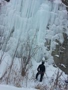 Rock Climbing Photo: Scoping out the route. The icicle I slung is near ...