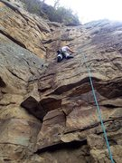 Rock Climbing Photo: Getting thru the crimpy crux section of Ankles Awa...