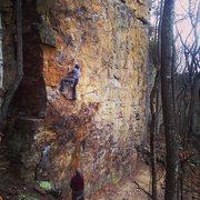 Rock Climbing Photo: Getting Started on Fish Eyed Fool 10b Sanford Wall