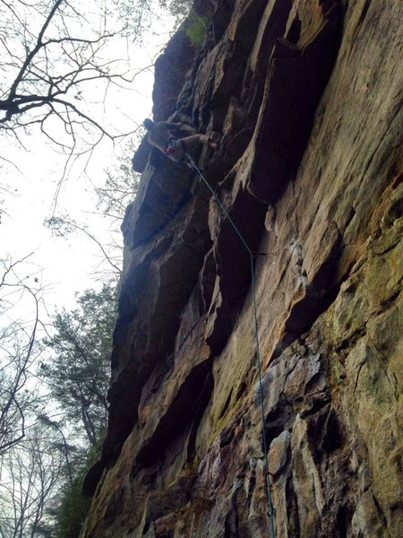 Rock Climbing Photo: Moving through the roof on Tea & Strumpets 10a