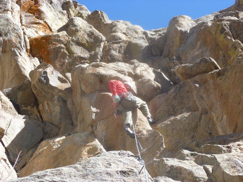Rock Climbing Photo: At the first difficult section.