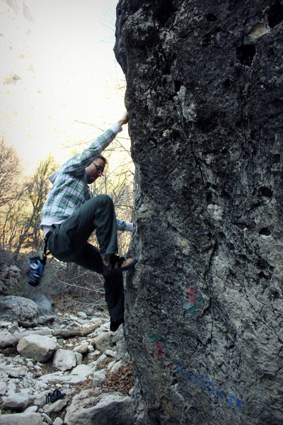 Rock Climbing Photo: Climbing on Pocket Boulder