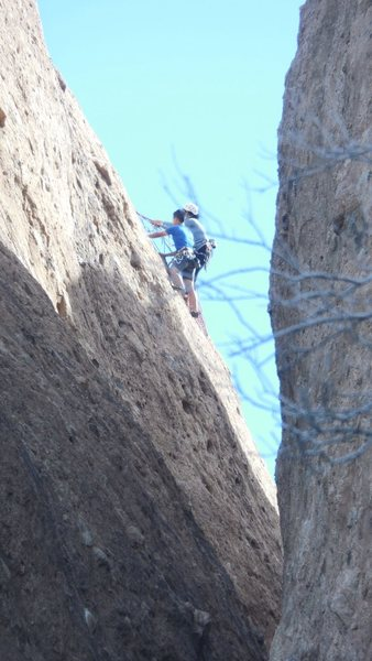 "Climbing on the ""Acme TR Wall."""
