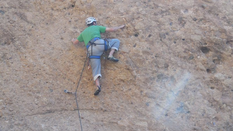 Rock Climbing Photo: Working the transition from the initial slab to th...