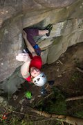 "Rock Climbing Photo: Knee-bar crux of ""Nailed It!"" photo: And..."