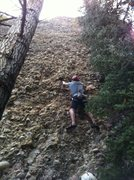 Rock Climbing Photo: Alex leading the first pitch