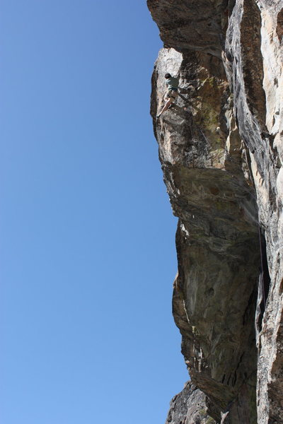 Troy Croliss working up the final arete on Angels and Demons .12a, larry land, bowman valley, ca.