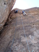 Rock Climbing Photo: Suzanne (left) on unnamed route (6 bolts to chain ...