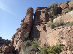 Rock Climbing Photo: 'Chimney Sweep' is the open book corner crack seen...