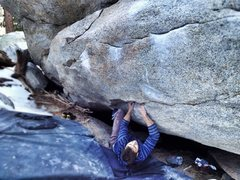 Rock Climbing Photo: Nds on the opening moves of Angus