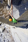 Rock Climbing Photo: Coming around the exciting bulge on on Pitch 2 on ...