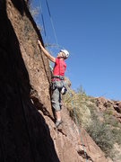 Rock Climbing Photo: Susan on 'The Devil made me do it'