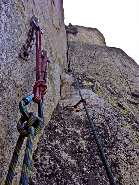 P2 of the Steeple's regular route.  As with most all Woodfords climbing: Steeper than it looks!