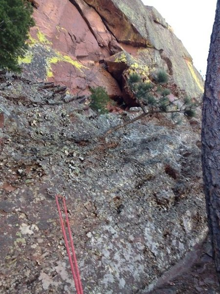 Upper Peanuts rap #3.<br> Trend to the climber's left on the way down the face.