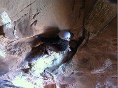 Rock Climbing Photo: Traversing left through the bird dung on pitch 5.