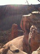 Rock Climbing Photo: The place to rap is obvious. From Book Cliffs view...