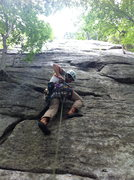 Rock Climbing Photo: Tj getting intense on the first couple moves on Mi...