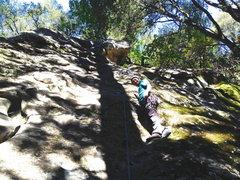 Rock Climbing Photo: After the crux start on 'Balance Sheet'