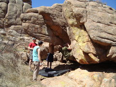Rock Climbing Photo: On the large sloper block before moving under the ...