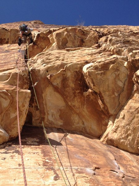 Rock Climbing Photo: The roof at the start of P4 is amazing! Great hold...