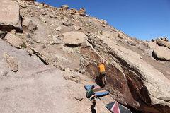 Rock Climbing Photo: Bag halfway through the traverse.
