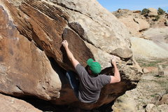 Rock Climbing Photo: Moving into the crimp and crux.