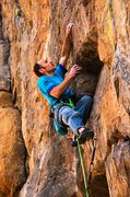 Rock Climbing Photo: Pulling a small roof at 2/3 height on Mission Impo...
