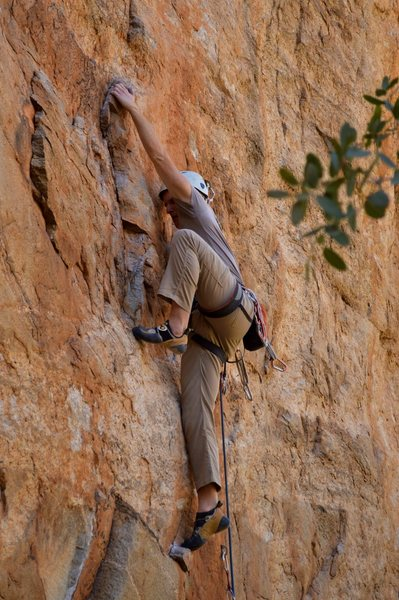 Rock Climbing Photo: A high step near the third bolt.  Photo by Elisa P...