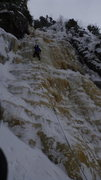 Rock Climbing Photo: Leading up Andromeda in cold and snowy conditions.