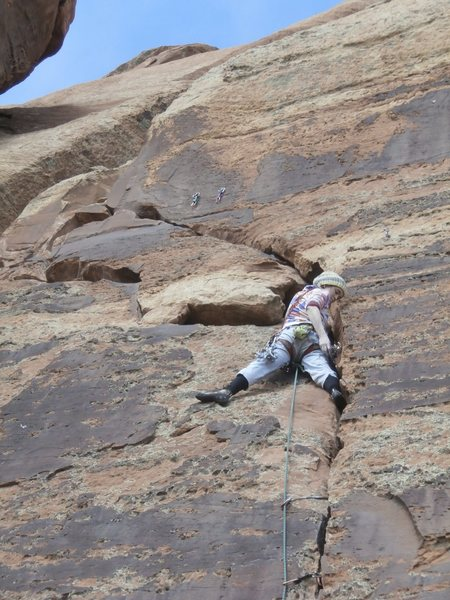 Rock Climbing Photo: Jess on Nameless Crack.  Standard anchors are abov...