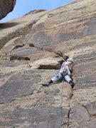 Rock Climbing Photo: Jess on Nameless Crack.  Standard anchors are abov...