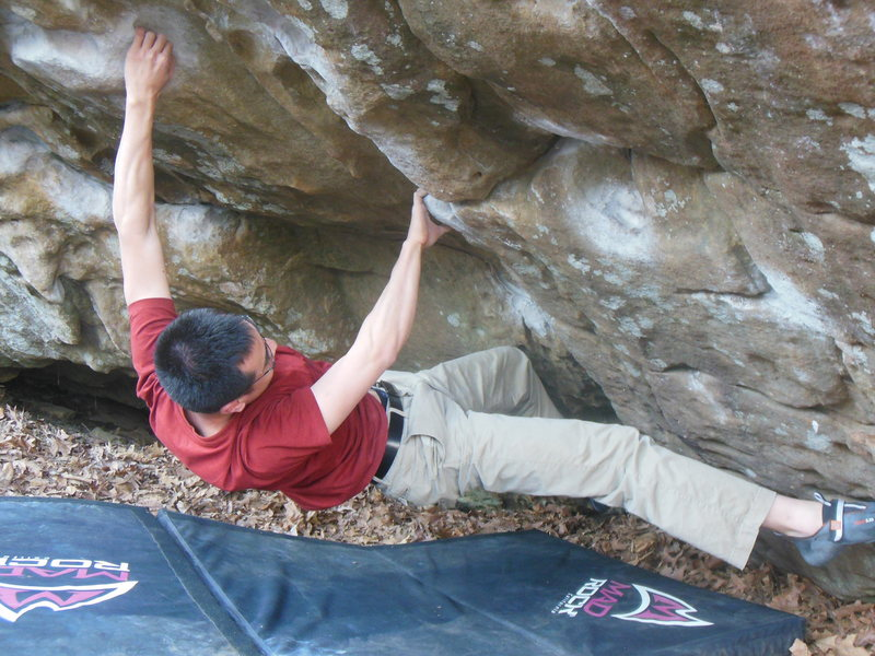 Rock Climbing Photo: Bill on Dig Dug (V4)