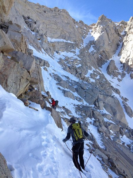 Mark Collar and Erik Harz in the exit snow gully, March 2014