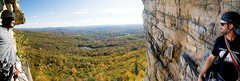 Rock Climbing Photo: Rob and I on the belay ledge. Amazing views and su...