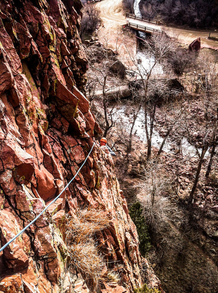 """Dave approaching the P1 belay on """"Rotwand Route""""."""