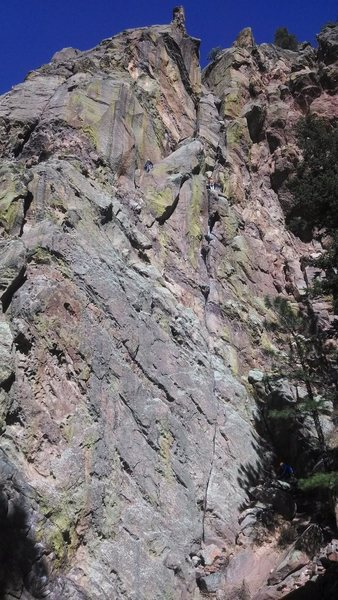 Rock Climbing Photo: West Face of the Bastille. Note the climber in the...