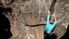 Rock Climbing Photo: Moving into the mantle on the FA