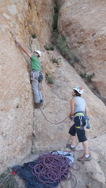 """Climbing the new direct start to """"Black Gold."""" The quality of the rock is better and cleaner than the old start."""