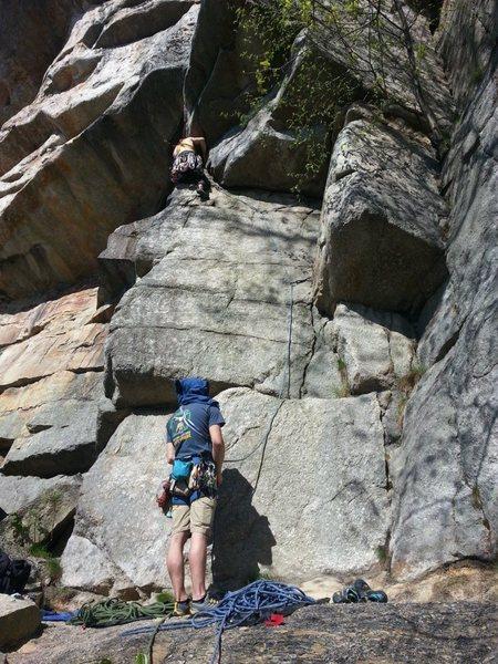Corner start of Yellow Ridge: Tyler turning the corner to begin the off-width section.