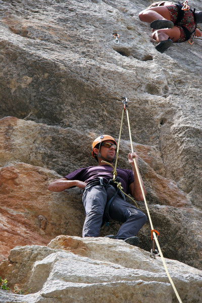 Rock Climbing Photo: Javi being a gentleman and letting the lady go fir...