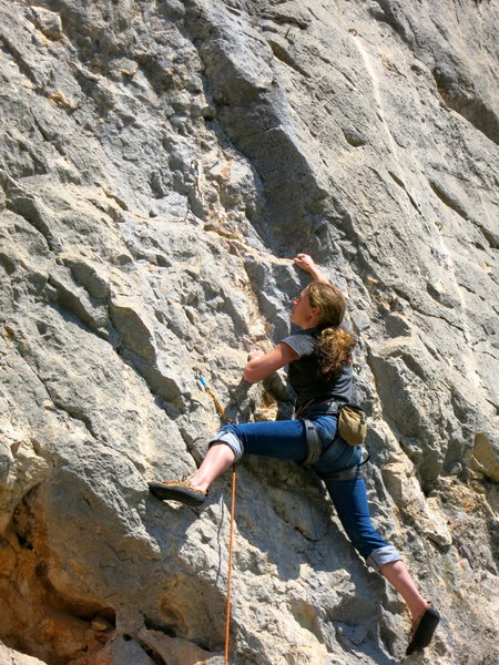 Rock Climbing Photo: Sophie heading for the crux on La hippie.
