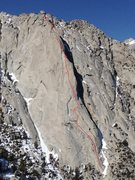 Rock Climbing Photo: Bastille Buttress with approximate line and belay ...