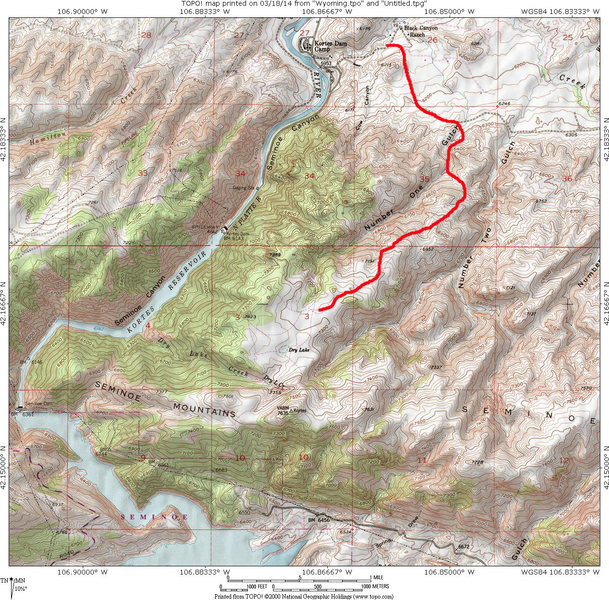 Map of East side of Seminoe Mtns.  Access 4x4 road to west end of east side is up Number One Gulch and shown as a red line.